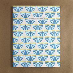 Egg Press Menorah Pattern Hanukkah Card