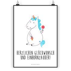 Poster DIN A4 Einhorn Hexe aus Papier 160 Gramm weiß - Das ...