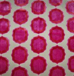 Manuel Canovas's,'Tiana,' Cut Velvet Medallions Fabric In Rich Red, Hot Rose Pink and Orange On a Bed of Cream.