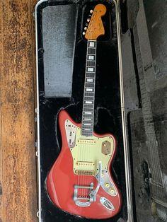 Fender Jaguar 1964 Custom Red / Pink modded specs | VW Guitars | Reverb Fender Bullet, Carl Wilson, Red Electric Guitar, Guitar Inlay, Beatles Guitar, Fender Jaguar, Johnny Marr, Fender Vintage, Midnight Memories