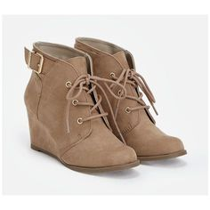 Justfab Booties Sassa (53 CAD) ❤ liked on Polyvore featuring shoes, boots, ankle booties, brown, short brown boots, lace up boots, lace up booties, brown lace up boots and lace up platform bootie