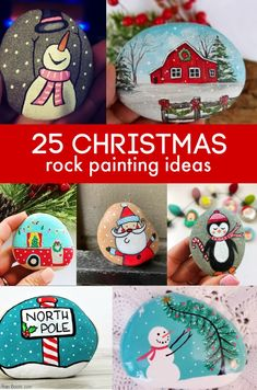 So many fun Christmas painted rock ideas. Click the link to see all 25 paintes rock ideas as well as the beat supplies for rock painting.