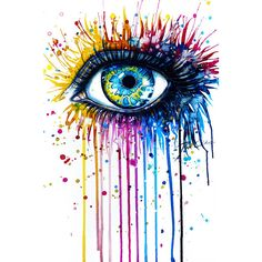 """""""Rainbow Eye"""" Art Print by PeeGeeArts ($25) ❤ liked on Polyvore featuring backgrounds, fillers, art, eyes and pictures"""