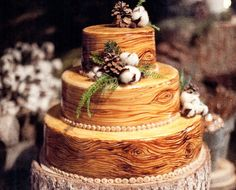 Wedding Cake of the Day: Rustic Wood Cake