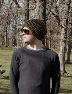 Men's Crochet Green Slouchy Hat