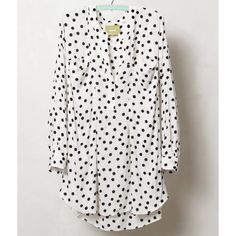"""Anthropologie Spotted Brunia Henley blouse Maeve Fun and versatile blouse from Anthropologie in white with black dots. New with tags. I've included photos on the model in a different color. """"The Maeve brand is both feminine and playful, a representation of beauty and strength at once. We'd pair this creamy speckled blouse with coral shorts and summery wedges. By Maeve. Pullover styling. Front chest pockets. Rayon. Dry clean. Regular: 25"""" long"""" Anthropologie Tops Blouses"""