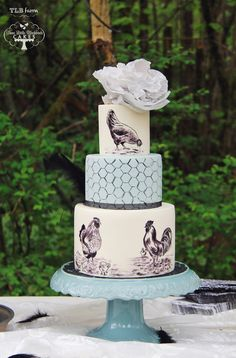 Look at that cake stand. Vintage chicken party for a 10 year old girl who loves chickens. Hand painted vintage chickens and chicken wire. Topped with a crepe pap. Pretty Wedding Cakes, Wedding Cake Designs, Pretty Cakes, Cute Cakes, Cake Wedding, Awesome Cakes, Beautiful Cake Pictures, Beautiful Cakes, Macarons