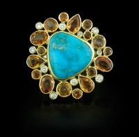 Pamela Huizenga Turquoise, Sapphire and Diamond Ring