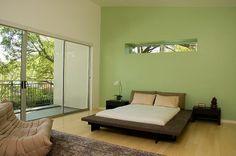 Bedroom, green walls
