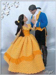 Beauty and the beast crochet belle dress gown Barbie Crochet Gown, Crochet Barbie Patterns, Crochet Barbie Clothes, Barbie Gowns, Barbie Dress, Moda Barbie, Barbie Mode, Knitted Dolls, Crochet Dolls