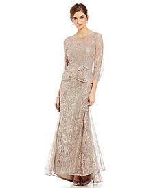 Emma Street Metallic Lace Mock 2Piece Gown #Dillards