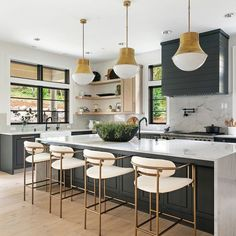 Pendants are such a beautiful addition to any space in your home. In much the same way as chandeliers, they add drama, interest, and elegance. However, if they are hung too low or too high, they can throw the room off balance and look out of place. Green Kitchen Island, Modern Counter Stools, Wooden Countertops, Scandinavian Kitchen, Modern Farmhouse Kitchens, Beautiful Kitchens, Cool Furniture, Pendant Lighting, Kitchen Design