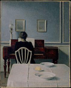 Vilhelm Hammershøi - Interior with Woman on Piano