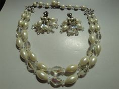 Vintage Laguna White Choker and Earring Set by Smallstones on Etsy, $38.99