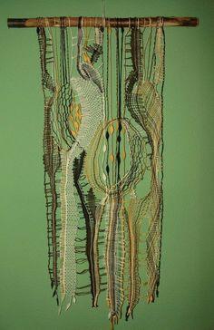 Green linen, yellow, green and black, template designed by Iva Prošková, modern Czech lace. Textile Fiber Art, Textile Artists, Bobbin Lacemaking, Weaving Wall Hanging, Lace Art, Creative Textiles, Lace Making, Hand Weaving, Creations