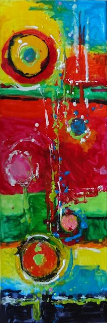 """Happiness"" 24""x8""x2"" encaustic"