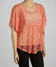 Another great find on #zulily! Peach Crocheted Lace Cape-Sleeve Top - Plus #zulilyfinds