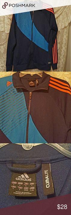 Men's adidas sweatshirt Black with blue 3 orange lines side of arms zippers to close climate control. 2 zippered pockets on front.  Euc Adidas Shirts Sweatshirts & Hoodies