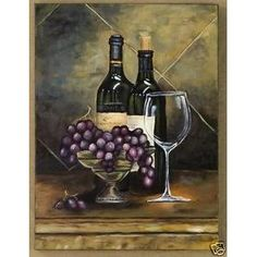 wine themed kitchen | Canvas Painting Wine Wall Art- Invitation II | Paintings and wall ...
