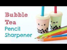 ♦ Back to School ♦ DIY Kawaii Bubble Tea Pencil Sharpener - 2 Cats & 1 Doll - YouTube