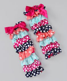 Girls will adore wearing these ruffle-rich leg warmers. Tiers of colorful prints and bright bows add playful flair to an outfit while keeping little limbs toasty.13'' longCotton / polyesterHand wash; hang dryImported