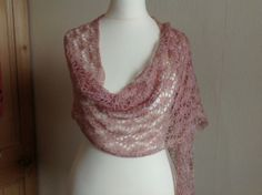 A stunning silk lace wrap. The lace yarn is mulberry silk. The yarn dyer has described the colour as shades inspired by the slowly awaking spring and the festival of Imbolc. I think they are lovely shades of dusky pink. The wrap is long an. Great Mothers Day Gifts, Lace Wrap, Summer Evening, Mulberry Silk, Hand Knitting, Shawls, Pink, Color, Fashion