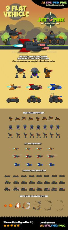 Vehicle Flat Style — Photoshop PSD #Vehicle game sprite #flat game style • Available here → https://graphicriver.net/item/vehicle-flat-style/16848692?ref=pxcr