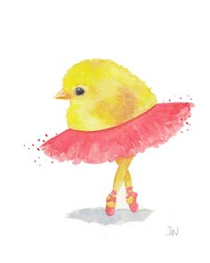 Chick Watercolor Painting Ballet Art Original by WaterInMyPaint