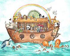 Noah's Ark Illustration -- By Georgia Dunn