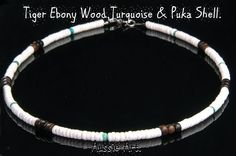 1SH-030 Aussie Made Tiger Ebony Wood,Turquoise & Puka Shell Choker Men Necklace