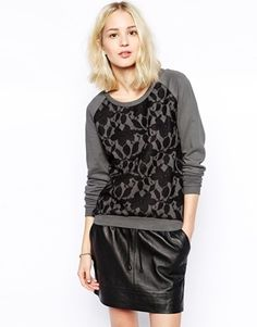 Vila Sunna Lace Front Sweatshirt - Choal gray/black