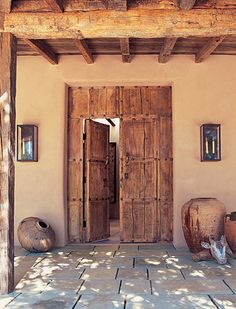 Old Mexican Front Door Entry - {Architectural Digest, June 2002, Photo by Tim Street-Porter} - Blogpost gives sources to recreate the look
