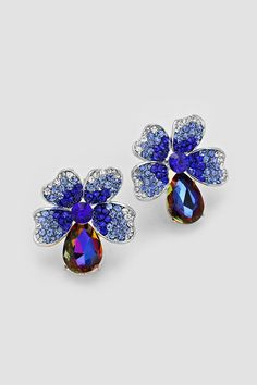 Mia Statement Earrings in Sapphire Vitrail | Women's Clothes, Casual Dresses, Fashion Earrings & Accessories | Emma Stine Limited