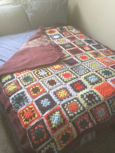 My biggest project to date: crochet and handwoven reversible blanket - very heavy and warm!