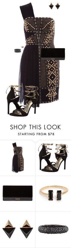 """""""Holiday Party"""" by ccoss ❤ liked on Polyvore featuring Stuart Weitzman, Balmain, Louis Vuitton and Lorraine Schwartz"""