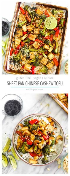 Sheet Pan Chinese Cashew Tofu is a quick and easy healthy weeknight dinner! This high protein, oil free, vegan and gluten free recipe can be made in 2 steps and 30 minutes! | CatchingSeeds.com