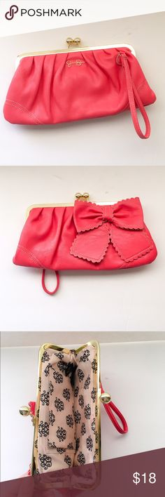Jessica Simpson Coral Wristlet/Clutch Used a couple times and in great condition. Good amount or room for a Wristlet. Super cute coral color! Perfect for any season. Jessica Simpson Bags Clutches & Wristlets