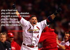 Cardinal Nation we are 1 game away with a victory over the Dodgers St Louis Cardinals Baseball, Stl Cardinals, Baseball Quotes, Baseball Cards, Cubs Baseball, Better Baseball, Baseball Stuff, Yadier Molina, Basketball Uniforms