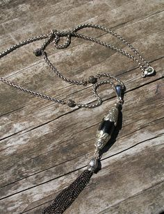 Himalayan Bead with chain tassel on a heavy chain