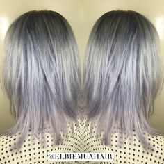 Dascha Polanco inspired hair done by me. Silver, light blue and subtle lavender tones using Wella colour.