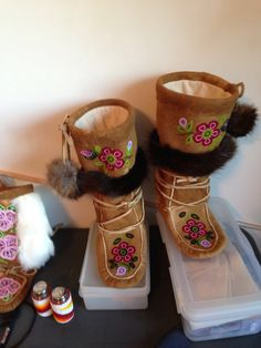 Authentic dene all moosehide mukluks made by me Beaded Shoes, Beaded Moccasins, Baby Moccasins, Birch Bark Baskets, Native American Moccasins, Native Wears, Beadwork Designs, Beading Patterns, Beading Ideas