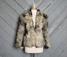 1960s FUR COAT / Gray & Black Curly Lamb jacket by LuckyDryGoods