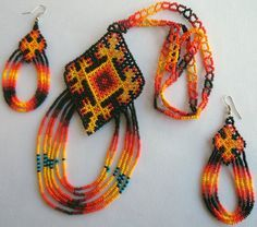 Mexican Huichol Beaded Ojo de Dios - Eye of God Necklace and earrings set