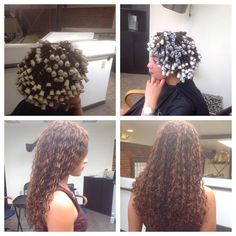 spiral perm wrap on gray and white rods with results