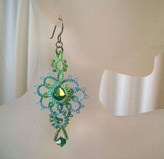 Lace earrings tatted with crystal and glass beads by yarnplayer, $28.00