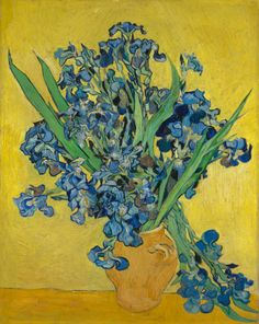 Vincent van Gogh painted a number of flower still lifes during his last weeks at Saint-Rémy hospital in May 1890. He used the subject to experiment with colour and contrast. In 'Irises' he has placed the purple-blue flowers against a yellow background. Van Gogh spoke of 'an effect of terribly disparate complementaries that reinforce each other by their opposition.' Image: Vincent van Gogh, Irises, 1890, Van Gogh Museum, Amsterdam (Vincent van Gogh Foundation)