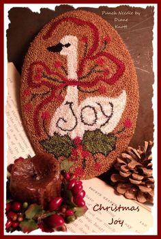 Christmas Joy Primitive Punch Needle Pattern Download by Diane Knott LLC by DianeKnottLLC on Etsy Wool Applique Patterns, Punch Needle Patterns, Christmas Punch, Christmas Crafts, Christmas Ornaments, Rug Hooking Designs, Penny Rugs, Punch Art, Needlework