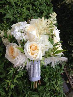 Feathery vintage glamour bridal bouquet.