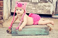 Pig Hat crochet pink animal hat with ear by Lollypopsboutique, $16.00