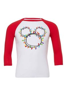 Bella Canvas unisex baseball tee fit is true to size. Printed with an anajet direct to garment printer. Disney Christmas Shirts, Disney World Shirts, Mickey Christmas, Disney Diy, Disney Crafts, Disney Shirts, Disney Outfits, Disney Dream, Disney Style